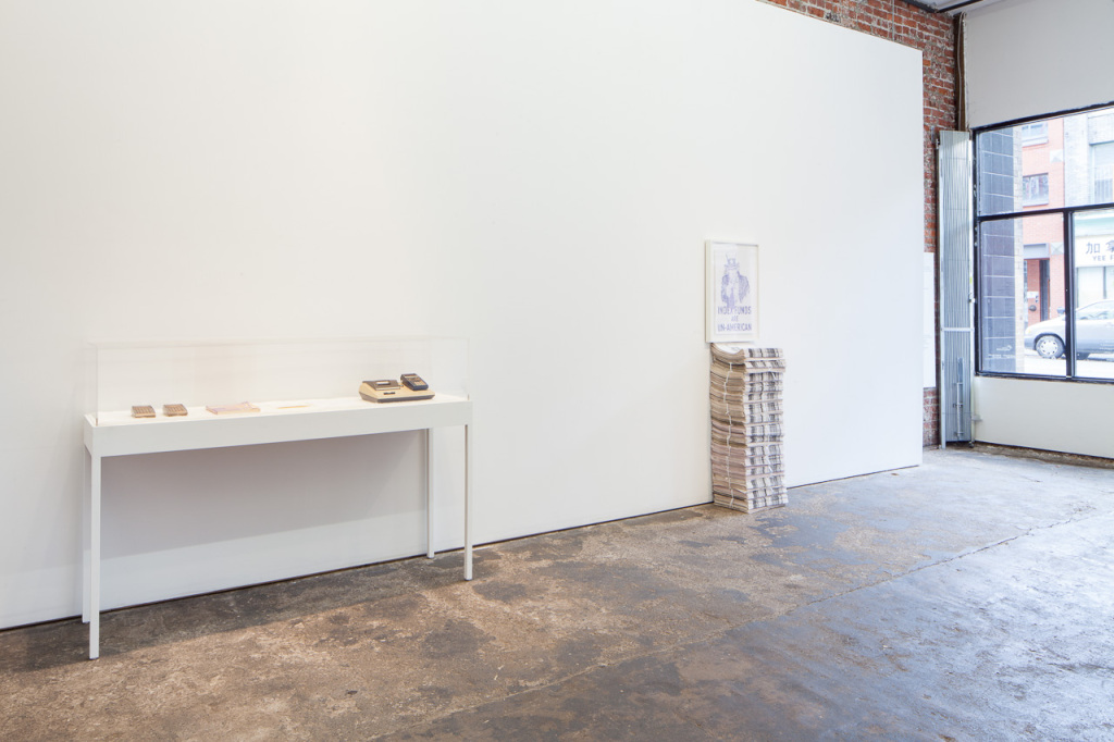 Brady Cranfield & Jamie Hilder,. Due to Injuries…. Installation view, 221A, 2013. Photo: Blaine Campbell.